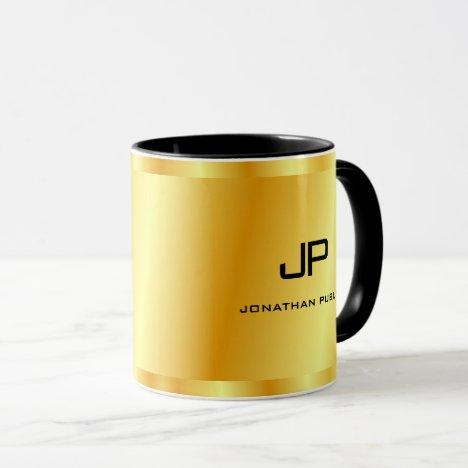 Elegant Faux Gold Monogram Template Trendy Mug