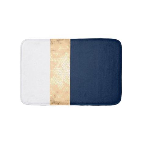 elegant faux gold, navy blue, white stripes bath mat