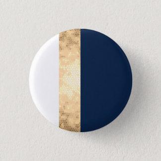 elegant faux gold, navy blue, white stripes button