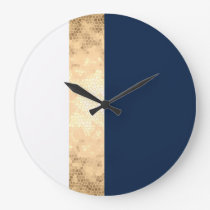 elegant faux gold, navy blue, white stripes large clock