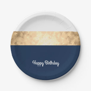 elegant faux gold navy blue white stripes paper plate  sc 1 st  Zazzle & Navy Blue And White Stripes Plates | Zazzle
