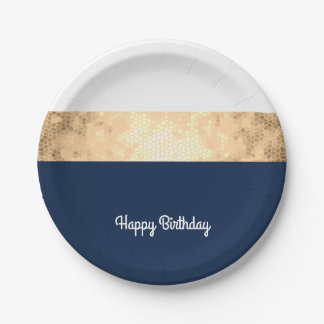 elegant faux gold, navy blue, white stripes paper plate