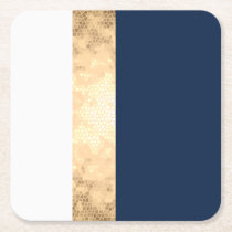 elegant faux gold, navy blue, white stripes square paper coaster