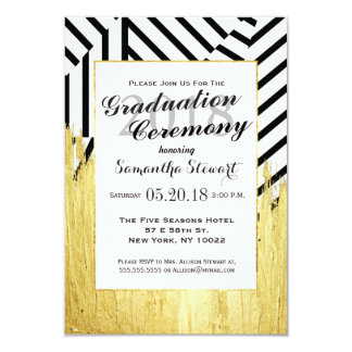 Elegant Faux Gold Paint Strokes & Stripes Pattern 3.5x5 Paper Invitation Card