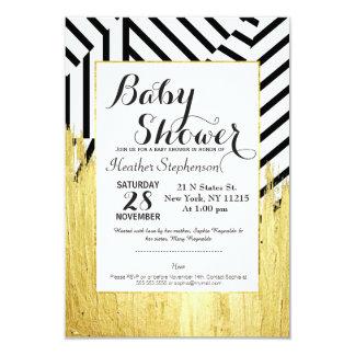 Elegant Faux Gold Paint Strokes & Stripes Pattern 3.5x5 Paper Invitation Card