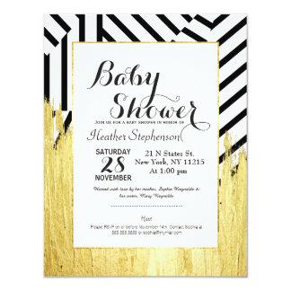 Elegant Faux Gold Paint Strokes & Stripes Pattern 4.25x5.5 Paper Invitation Card