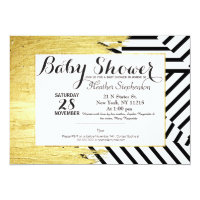 Elegant Faux Gold Paint Strokes & Stripes Pattern Card