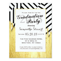 Elegant Faux Gold Paint Strokes & Stripes Pattern Invitation