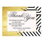 Elegant Faux Gold Paint Strokes & Stripes Pattern Postcard