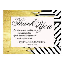 Elegant Faux Gold Paint Strokes & Stripes Pattern Postcard