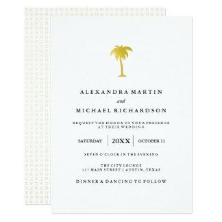 Elegant Faux Gold Palm Tree Wedding Card