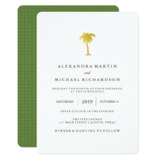 Elegant Faux Gold Palm Tree Wedding | Green Card
