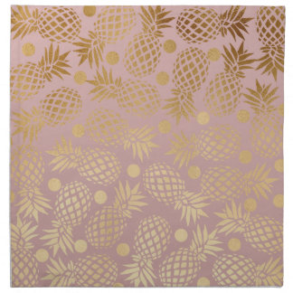 elegant faux gold pineapple pattern polka dots cloth napkin