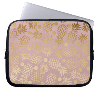 elegant faux gold pineapple pattern polka dots computer sleeve