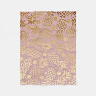elegant faux gold pineapple pattern polka dots fleece blanket