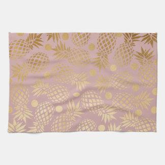 elegant faux gold pineapple pattern polka dots kitchen towel