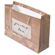 elegant faux gold pineapple pattern polka dots large gift bag
