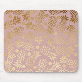 elegant faux gold pineapple pattern polka dots mouse pad