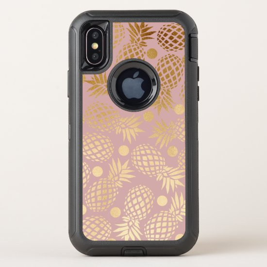 elegant faux gold pineapple pattern polka dots OtterBox defender iPhone x case