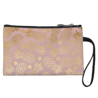 elegant faux gold pineapple pattern polka dots wristlet wallet