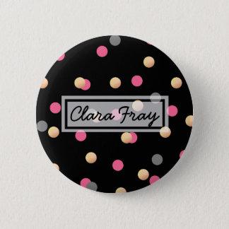 elegant faux gold pink grey confetti dots pattern button