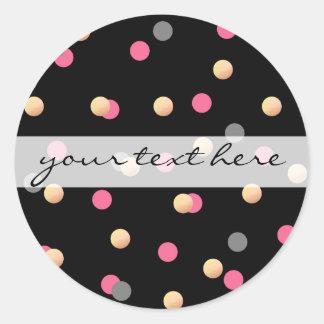 elegant faux gold pink grey confetti dots pattern classic round sticker