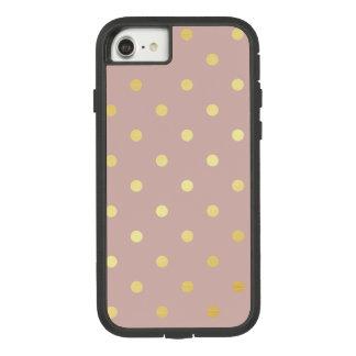 elegant faux gold pink polka dots Case-Mate tough extreme iPhone 8/7 case