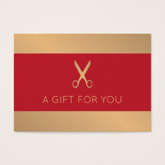 Elegant Faux Gold Red Beauty Salon Business Card