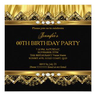 Elegant Faux Gold Silk Black Diamond Invitation