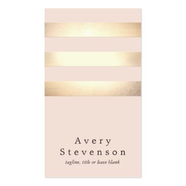 Elegant Faux Gold Striped Modern Light Pink Chic Pack Of Standard Business Cards