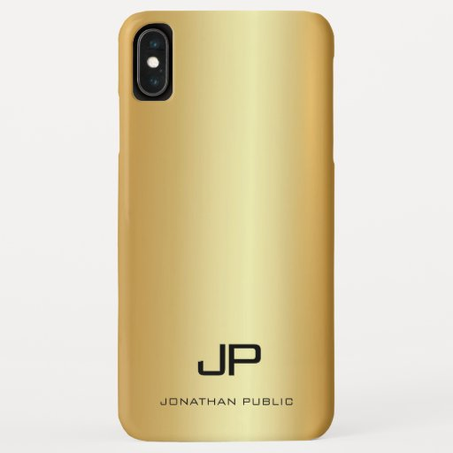 Elegant Faux Gold Template Modern Monogram Name iPhone XS Max Case