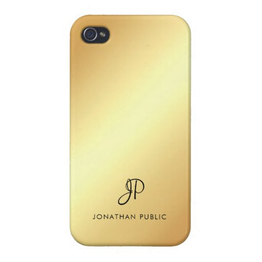 Elegant Faux Gold Template Modern Monogram Name Case For iPhone 4
