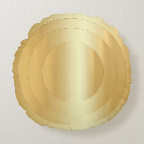 Elegant Faux Gold Trendy Glamorous Template Round Pillow