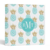 Elegant faux gold tropical pineapple pattern 3 ring binder