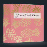 """elegant faux gold tropical pineapple pattern binder<br><div class=""""desc"""">Trendy and stylish faux gold pineapple pattern. You may customize the background color.</div>"""