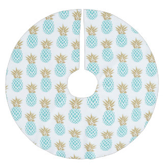 Elegant faux gold tropical pineapple pattern brushed polyester tree skirt