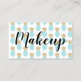 Elegant faux gold tropical pineapple pattern business card
