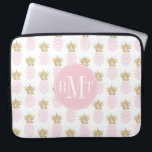 """Elegant faux gold tropical pineapple pattern computer sleeve<br><div class=""""desc"""">Trendy and stylish faux gold glitter and blush pink pineapple pattern.</div>"""
