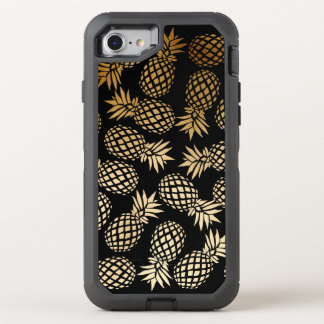 elegant faux gold tropical pineapple pattern OtterBox defender iPhone 8/7 case