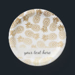 "elegant faux gold tropical pineapple pattern paper plate<br><div class=""desc"">Trendy and stylish faux gold pineapple pattern. You may customize the background color.</div>"