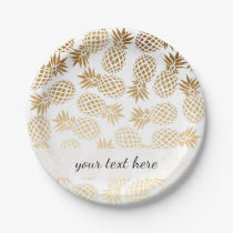 elegant faux gold tropical pineapple pattern paper plate