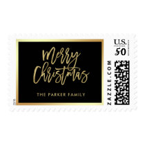 Elegant Faux Gold Typography | Merry Christmas Postage