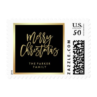 Christmas Themed Elegant Faux Gold Typography   Merry Christmas Postage