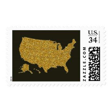 USA Themed elegant faux gold USA map on black Postage