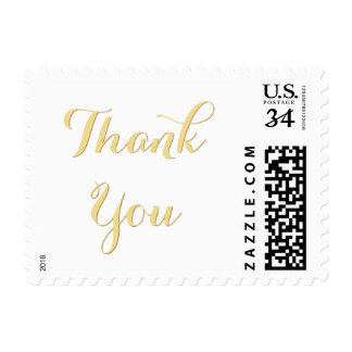 Elegant Faux Gold Wedding Thank You Postage Stamp