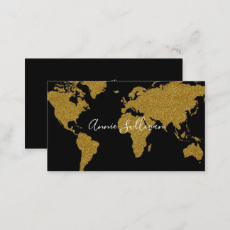 elegant faux gold world map black travel agent business card
