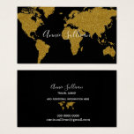 "elegant faux gold world map black travel agent business card<br><div class=""desc"">A business card for a travel agent,  or any other professional...  with the image of a faux golden (ocher color simulating gold) map of world on black background with handwritten name</div>"