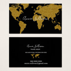 Elegant Faux Gold World Map Black Travel Agent Business Card at Zazzle