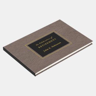 Elegant Faux Leather Retirement Guest Book