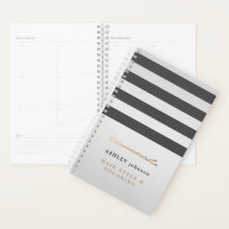 Elegant Faux Metal Grey Stripes Hair Stylist Planner